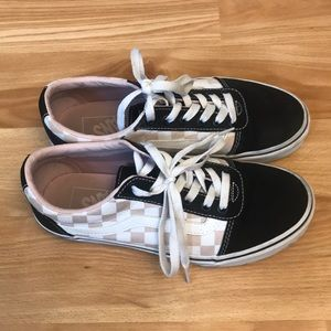 Women's VANS pink checkered sneakers size 7
